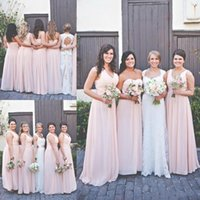 Wholesale Outdoor Bridesmaid Dresses - Country Bridesmaid Dresses For Outdoor Wedding Floor Length Chiffon 2018 Pleated Sleeveless Long A-line Zipper Cheap Maid Of Honor Gowns