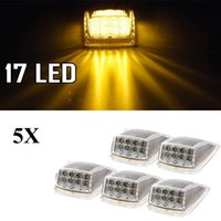 Compra Ha Portato La Distanza Ambra-5pcs 12v Amber 17 LED Roof Running Top Clearance Assembly per Kenworth Spedizione gratuita
