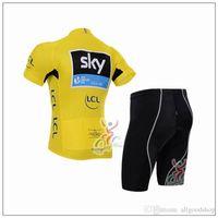 Wholesale Anti Bacteria - Sky Cycling Jerseys Short Sleeve Jersey Bib Shorts Set Pro Team Sky Cycling Clothing Maillot Bike  Bicycle Wear For Anti Bacteria