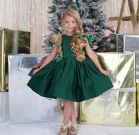 Wholesale Green Pageant Girl Dress - Dark Green Flower Girls Dresses With Bow Knot Sequins Backless Satin Girls Pageant Gowns Knee Length Sleeveless First Communion Wear