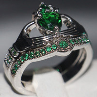 Wholesale Unique Couplings - Claddagh Fashion Jewelry chouchong Unique Desgin 10KT White Gold Filled Heart Shape Emerald Gemstones CZ Diamond Women Wedding Couple Ring