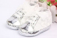 Wholesale Baby Crib Shoe Sizes - Wholesale- HOT Sale Toddler Baby Kid Girl Non-slip Soft Sole Crib Sneaker Shoes Pre-walker Boots White Pink Uk size 0 -24M
