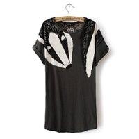 Wholesale Bell Fox - Wholesale- Fashion swan & fox print bat sleeve women cotton T shirt 2016 Summer Female shirt O neck short sleeve casual tops#E898