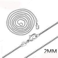 Wholesale Dog Music Box - 2mm 925 Silver Venice Chains 16-24 Inches Box Chain Link Jewelry Accessories For DIY Choker Necklace Making With Lobster Clasp