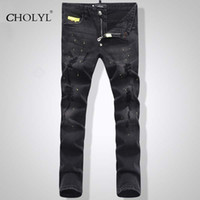 Wholesale Men S Short Trouser Jeans - Wholesale- New Arrival Top quality Men Embroidery Skull Short Jeans Man Skinny Slim Denim Trousers Fashion Casual long jeans PP1505