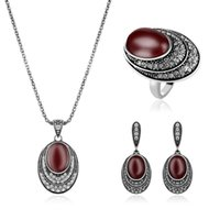 Wholesale Vintage Necklace Oval - Vintage Red Imitation Gem Oval Jewelry Set Women Vintage Alloy Pendant Necklace Earrings Bridals Turkish Jewelry sets Wholesale