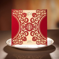 Wholesale Elegant Invitation Paper - Chinese Style Engaement Red Wedding Invitations Card Elegant Laser Cut Hollow Flora Greeting Paper Wishmade CW506