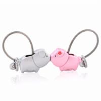 Wholesale Kiss Key Chain - MILESI 2017 cute kiss Pig couple keychain for lover christmas gift women key holder chain keyring fashion souvenir pendant k0176