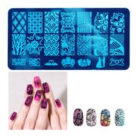 Wholesale Nail Stamping Plates Animals - 20 Styles Nail Stamping Plates Lace Flower Animal Pattern Nail Art Stamp Stamper Template Image Plate Stencil DIY Nails Tool ZA1645