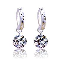 Wholesale Big Crystal Chandelier - Sterling Silver Earrings for Women Gemstone Big Long Dangle Geometric Drop Earrings Swarovski Cubic Zirconia Statement Crystal Earrings