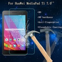 Wholesale Screen Protector For 7inch - Wholesale- 9H 2.5D For HuaWei MediaPad T1 7inch Screen Protector Film Tempered Glass Back Cover New 7inch Screen Film Protector For Huawei