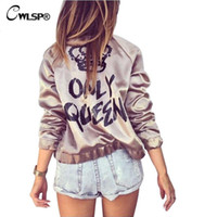 Women outerwear silk jackets - Fashion Women Basic Coats Satin Silk Champagne Gold Bomber Jacket Back ONLY QUEEN Crown Letter Print outerwear coats QL2672