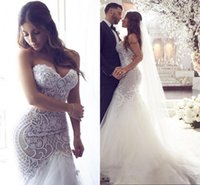 Wholesale Sweetheart Beaded Bodice - Illusion Mermaid 2017 Arabic Wedding Dresses Sweetheart Beaded Lace Tulle Bridal Dresses Sexy Vintage Wedding Gowns