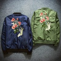 Wholesale Slim Coat Outerwear - New Mens Fashion Flight Bomber Jackets Male Back Embroidery Florales Outerwear Sports Coats Army Green Navy Blue Black