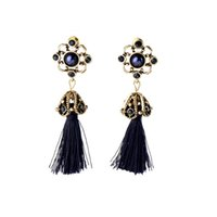 Wholesale Obsidian Earrings - SINCE THEN after that the new hollow out set auger tassel earrings The oath of obsidian