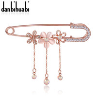 Wholesale Fashion Safety Pins - Wholesale- Hijab Pins Rose Gold plated Safety Pin Brooch Fashion Luxury Rhinestone Men Brooches For Suit Scarves Corsage Sweater Collar