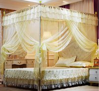 Wholesale Mosquito Net Steel - Internet industry deluxe stainless steel 3 open court mosquito net lace Single and double students princess bed nets
