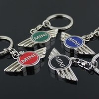 Wholesale Keyring Car Logo - For MINI Cooper 4colors Autobots Angel Wings Brand sports car symbol Keychains Keyring Metal Auto Car Mini Wing Logo Key Chain