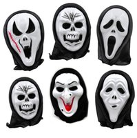 Wholesale Horror Scream - Halloween Costume Party Long Face Skull Ghost Scary Scream Mask Face Hood Scary Horror Terrible Mask with Hood 300pcs