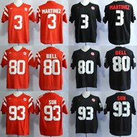 Wholesale Suh Jersey - Men Nebraska Cornhuskers 3 Taylor Martinez 80 Kenny Bell 93 Ndamukong Suh red black college jerseys adult size mix order free shipping