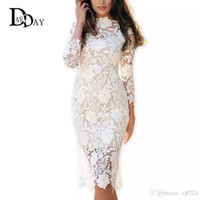 Wholesale Sexy Crocheted Dresses - 2017 Summer Women White Lace Dresses Bodycon Floral Crochet Lace Long sleeve Midi Elegant Sheath Pencil Party Dresses S147163