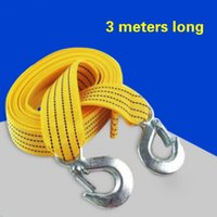 Wholesale Trailer Hooks Car - Car trailer rope 3 m 3 t High Strength Polyester double thick crossed road vehicle with strap tensioner pull car traction rope with Hooks