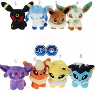 Wholesale pokemon plush dolls - Poke Pikachu Movie Pocket 8 Styles 5 inch Umbreon Eevee Espeon Jolteon Vaporeon Flareon Glaceon Leafeon Plush Toys stuffed dolls 14CM A08