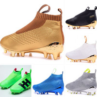 Wholesale Mens Pointed Toe Ankle Boots - Kids Soccer Cleats laceless Youth purecontrole FG AG ace 16 soccer cleats Original High Ankle Mens football soccer shoes boots Gold