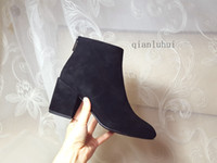 Wholesale cm boots - 2017 New Fashion 7.5 CM thick heel women ankle boots %100 genuine leather Suede black color Zip soft leather shoes woman winter boots