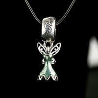Wholesale Fairy Tales Jewelry - Green Enamel Tinker Bell Dress Charms Pendants 925 Sterling Silver Fairy Tale Beads For Jewelry Making DIY 2017 Bracelet