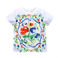 Wholesale Girls Flower Tshirts - Girl Tops Tee shirt Enfant Fille 2017 Brand Summer Children T shirt for Girls Clothes Flower Print Baby Girls Tshirts