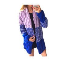 Wholesale Knit Tops Multicolor - Wholesale-Fashion New Color Block Gradient Twist Medium Long Cardigan Coat Women Long Sleeve Knit Sweater Cardigan Tops Outfit Multicolor