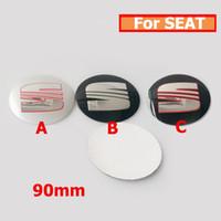 Wholesale Glue Aluminium - Aluminium 90MM car wheel center stickers for seat Cordoba  Ibiza  Cupra  Leon lbiza Toledo Altea  IB E auto emblem stickers
