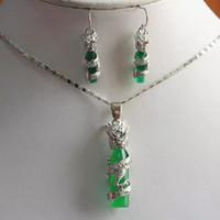 Wholesale Genuine Jade Jewelry Set - Pearls and jade Tibetan silver jewelry >Genuine top natural green jade beads silver earrings necklace jewelry set