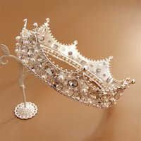 Wholesale Full Hairbands - Vintage Wedding Bridal Queen Crown Tiara Crystal Rhinestone Headband Full Round Crown Pageant Hair Accessories Silver Pearl Headdress Band