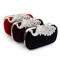ingrosso cristallo di diamanti di pavone-2017 4 colori di cristallo di modo borsa borsa borsa da sera borsa elegante peacock frizione vendita calda spedizione gratuita