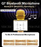 Wholesale Ktv Computer Microphone - Free Shipping Q7 Bluetooth Microphone Pocket Party KTV Sing karaoke Wireless Speaker Sound Console Studio for iPhone IOS Android Smartphones