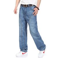 Wholesale Wide Leg Trousers Large - Wholesale- Men's Large Size Jeans Wide Leg Denim Pants Loose Skateboard Straight Trousers Big Mens Relaxed Harem Jeans Grey Blue 30-46