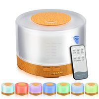 Wholesale Mini Light Source - 500ml Remote Control Air Aroma Ultrasonic Humidifier with Colorful LED Lights Electric Aromatherapy Essential Oil Diffuser for home