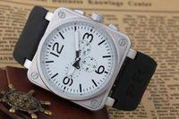 handgolduhren für männer großhandel-Neue Herren Automatik Mechanicl 6 Hand Edelstahl Luxus Uhr Bell Aviation Limited Edition Dive Schwarz Gummi Silber Blau Uhren