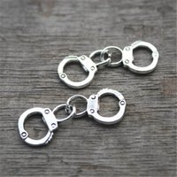 Wholesale Charm Handcuff - 20pcs-- Handcuffs Charms, Antique Tibetan Silver Tone 3D Handcuffs pendants   charms, handcuffs connector 33x11mm