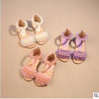sandálias bonitas para meninas venda por atacado-Chegada nova Meninas Pérola Rendas Princesa Sandálias Bonitos Pouco Senhora Tira No Tornozelo Princesa Sapatos de Alta Qualidade Sandálias Macias Sapatos de Desempenho
