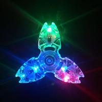 fiação leve venda por atacado-Triângulo Caranguejo Fidget Spinner Clear Led Luz Cristal Gyro Mãos Spinners ABS Plástico Dedo Flash Toy Alta Qualidade 5 8 hs B