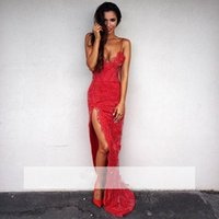 Wholesale Lacy Evening Dresses - 2017 sexy mermaid red back evening dress lace applique lacy lace with a lace of Italian spaghetti strap KL7458
