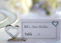 Wholesale Wedding Placecard - Wholesale 200pcs love heart place card holder placecard holders silver color wedding favor gift party decoration Free Shipping