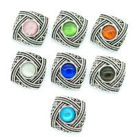 patrones cuadrados de encanto al por mayor-Nueva Moda KZ3045 Belleza Patrón Cuadrado Colorido 18 MM jengibre botones a presión para DIY jengibre snap pulseras Accesorios encanto de la joyería