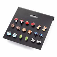Wholesale Earring Backs Babies - 9 Pairs Cute Kids baby Stud Earrings Sets Women Small Heart Ladybug Frog Fox Bear Owl Ear Studs children brincos Jewelry