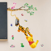 Wholesale Diy Tree Wall Removable - Pooh tree Animal Cartoon Vinyl Wall stickers for kids rooms Home decor DIY Child Wallpaper Art Decals 3D House Decoration