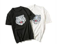 Wholesale Unique Tiger - unique homme design tee multi-color handmade tiger embroidery cotton short sleeve oversize 5xl cool t shirts for men