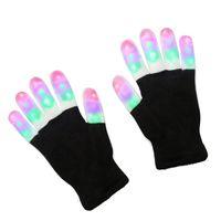 rave handschuhe großhandel-2017 led-blitz-handschuhe fünf finger licht geist tanz schwarz bar bühne leistung bunte begeisterte licht finger beleuchtung handschuhe glühen blinkendes 10